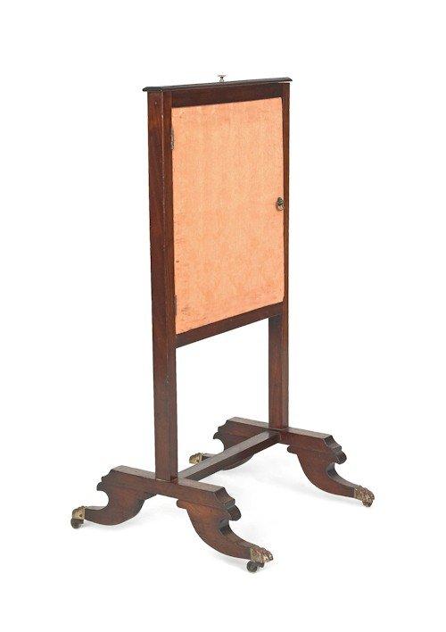 713: Regency mahogany fire screen, ca. 1815, with a sl
