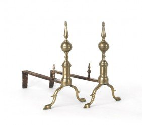 Pair Of Federal Brass Andirons, Ca. 1825, 15 1/4''