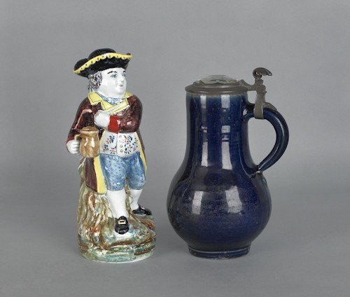 716: Continental stoneware stein, 19th c., with facete