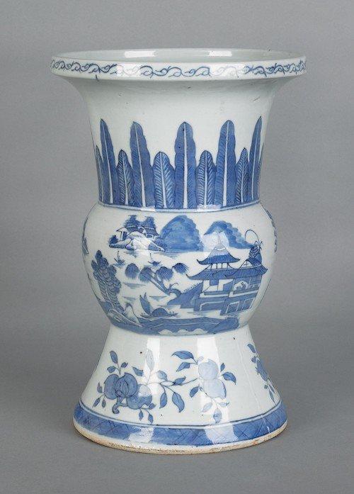 719: Canton Ku form porcelain vase, 12 1/2'' h.
