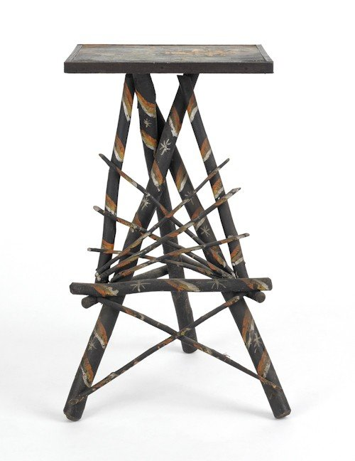 721: Painted twig stand, ca. 1910, 27 1/4'' h., 15'' w.