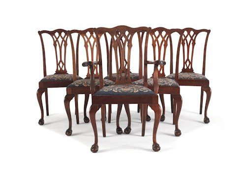 726: Set of six Chippendale style mahogany dining chai