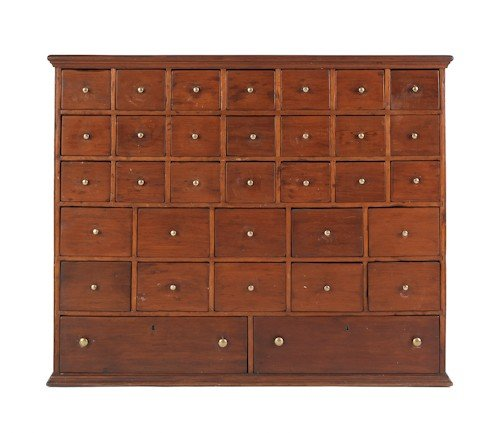 728: Pine apothecary cabinet, 19th c., 40 1/2'' h., 49'