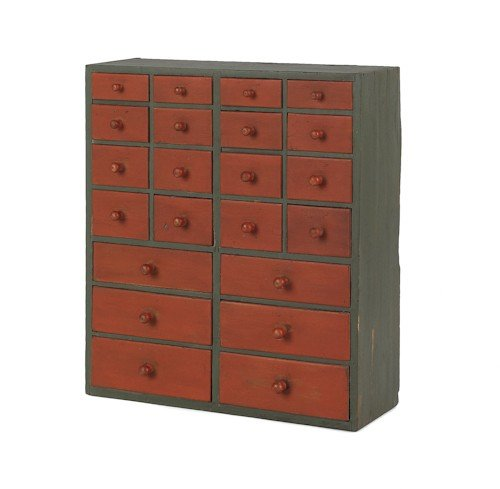 730: Painted apothecary cabinet, 19th c., 29'' h., 25''