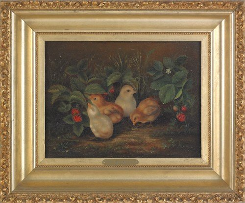 732: American oil on canvas of four chicks and strawbe
