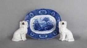 Flow Blue Oriental Platter, 16'' L., 19'' W., Toge