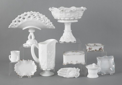793: Milk glass compote and pitcher with grape pattern
