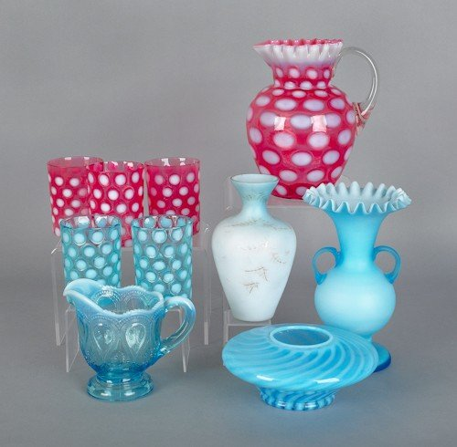 798: Glass tableware, to include a blue satin overlay