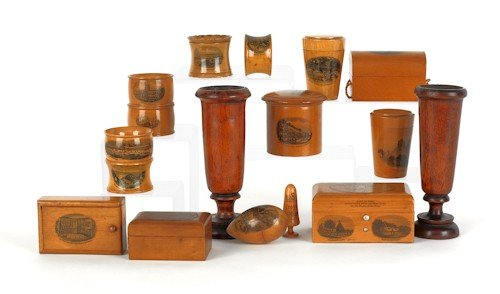 799: Mauchline wooden boxes, together with napkin ring