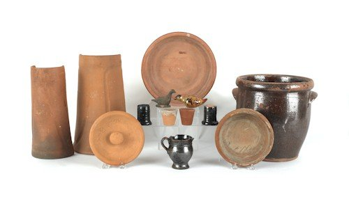 804: Miscellaneous redware, to include two roof tiles,