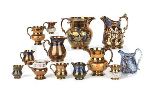 874: Thirteen copper luster pitchers and creamers, 19t
