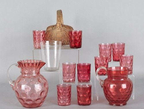 Two Victorian water pitcher sets, together with a
