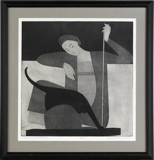 957: Will Barnet print titled, Cat, Woman & String,