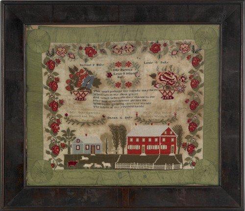 2: Pennsylvania wool needlework, dated 1842, wrou
