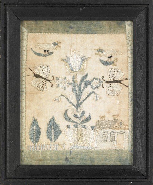 4: Pennsylvania silk on gauze pictorial sampler, ca