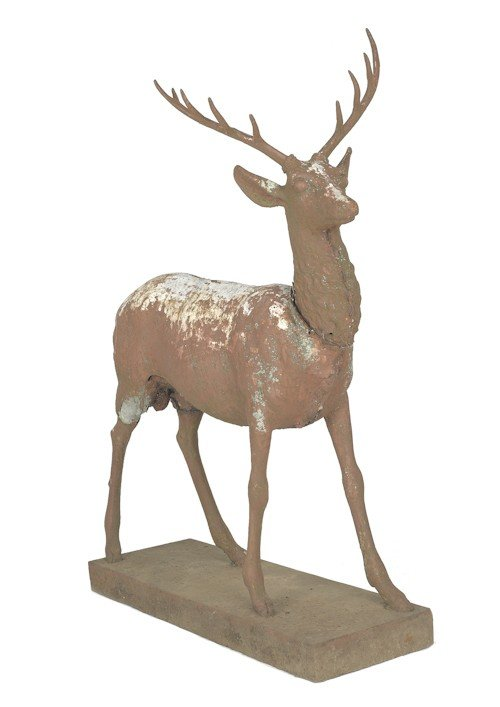 6: Cast iron stag lawn ornament, 19th c., probably