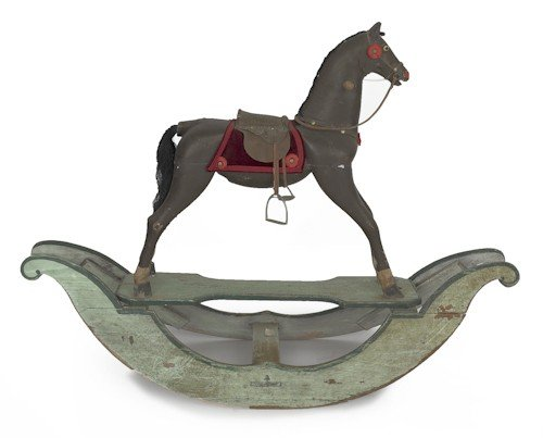 11: Carved and painted hobby horse, 19th c., 39'' h.