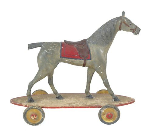 15: Carved and painted hackney horse pull toy, ca. 1