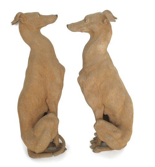 16: Pair of flocked composition whippets, 20th c.,