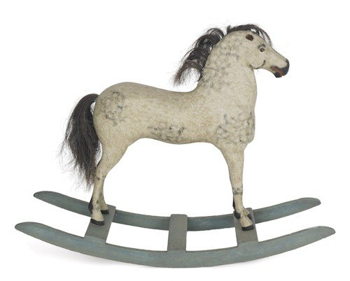 17: Carved and painted hobby horse, 19th c., 28'' h.