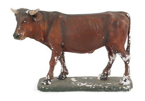 18: Painted plaster bull, ca. 1900, 20'' h., 27'' w.