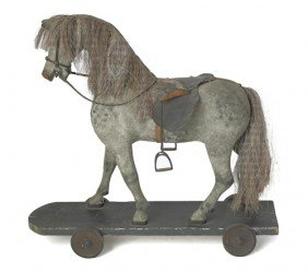 Carved And Painted Horse Riding Toy, 19th C., 2
