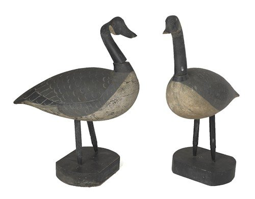 28: Pair of carved and painted Canada goose decoys,