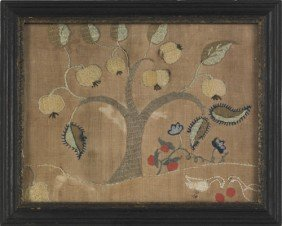 Two Crewelwork Panels, Mid 18th C., 9'' X 11'' An