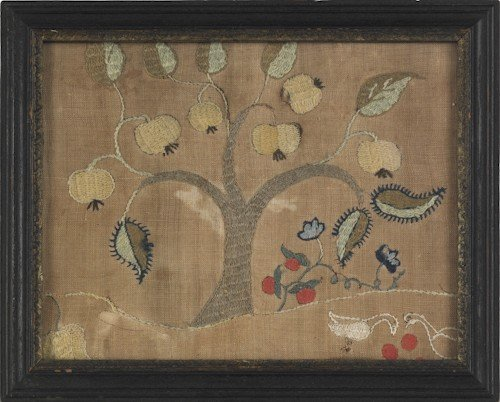 32: Two crewelwork panels, mid 18th c., 9'' x 11'' an