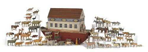 43: Large German carved and painted Noah's Ark, 19th