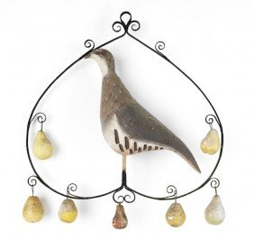 English Painted Iron And Tin Partridge In A Pear