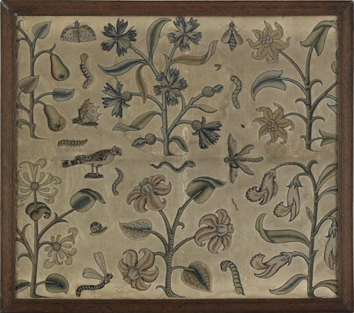 46: Charles II stumpwork embroidery, late 17th c.,