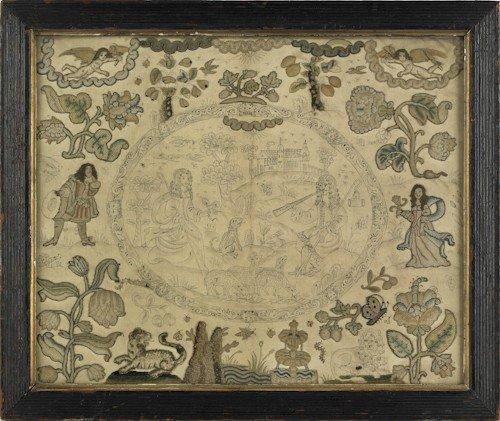 49: Charles II stumpwork embroidery, late 17th c.,