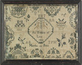 Two English Quaker Silk On Linen Samplers, Dated