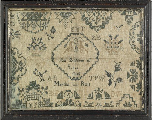 50: Two English Quaker silk on linen samplers, dated