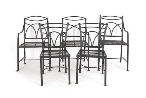 52: Five English wrought iron garden seats, 19th c.
