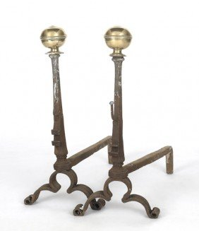 Pair Of Continental Brass And Wrought Iron Andir