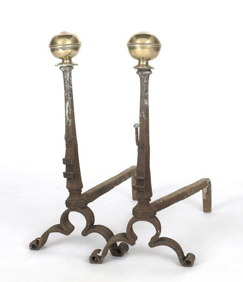 53: Pair of Continental brass and wrought iron andir