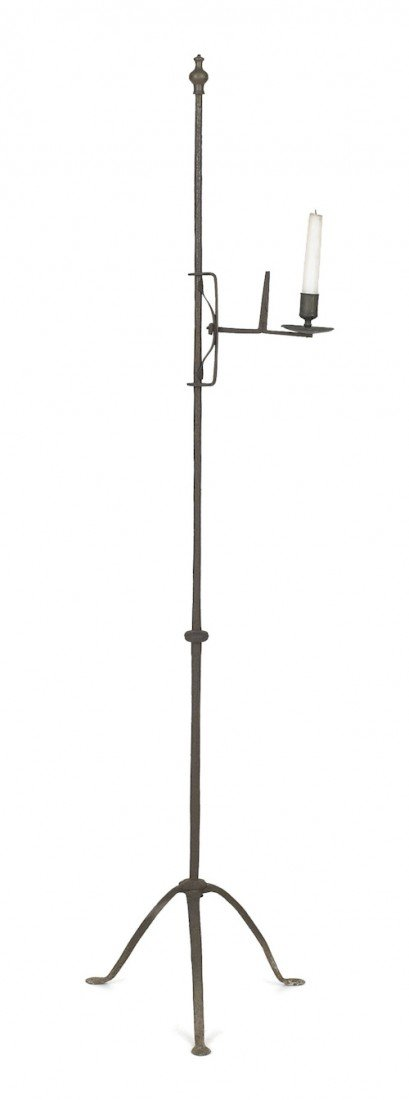 54: Wrought iron and brass adjustable candlestand, 1