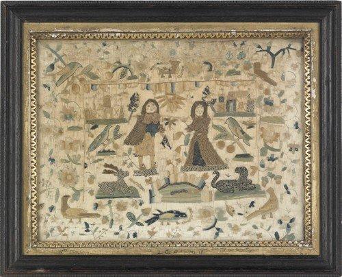 56: English Charles II silk and stumpwork picture, c