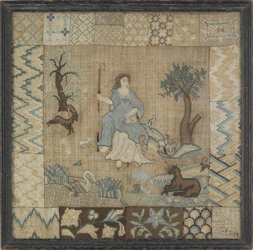 60: Silk on linen pictorial darning sampler, late 18