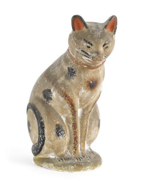 63: Large Pennsylvania chalkware cat, 19th c., reta