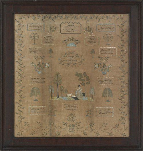 65: Chester County, Pennsylvania silk on linen sampl