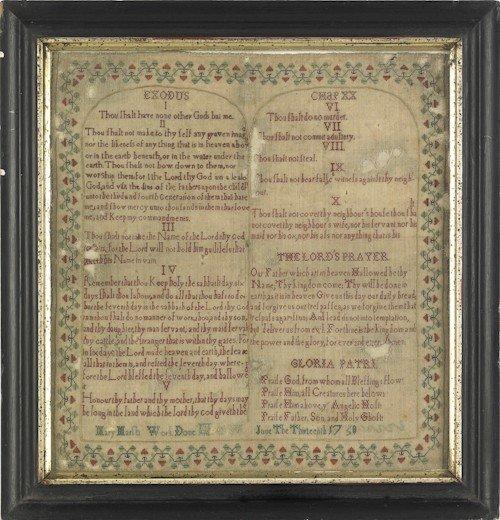 70: Silk on linen Ten Commandments sampler, dated