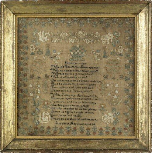 71: American silk on linen sampler, wrought by Eliz