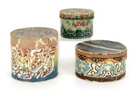 Three Round Wallpaper Boxes, 19th C., With Flor