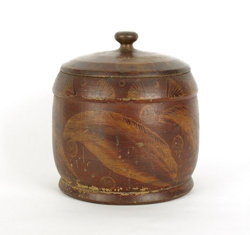 121: Massive painted treen canister and cover, early