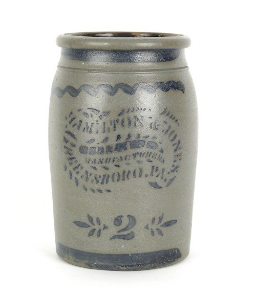 122: Hamilton & Jones blue decorated two gallon stone