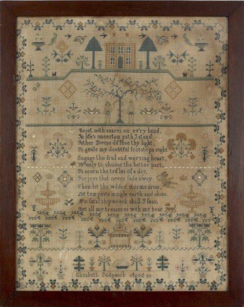 126: Large silk on linen sampler, early 19th c., wro