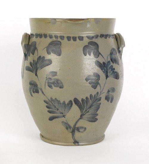 130: Large blue decorated four gallon stoneware crock